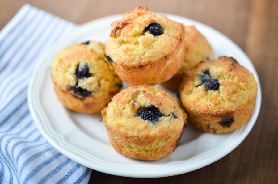 Gluten-free Lemon Blueberry Muffins - Yummy gluten-free muffins! Sugar-free, dairy-free, low-carb, THM-S