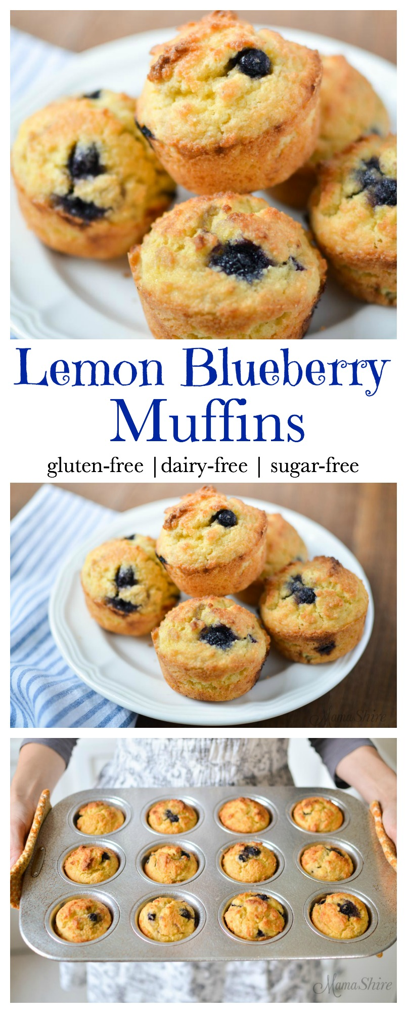 Delicious low-carb Lemon Blueberry Muffins! Perfect for breakfast or a snack. Trim Healthy Mama-S, Keto. #dairyfree #glutenfree #keto #trimhealthymama #blueberrymuffins #breakfast #treat #snack #grainfree #lowcarb #healthy #celiac #blueberries