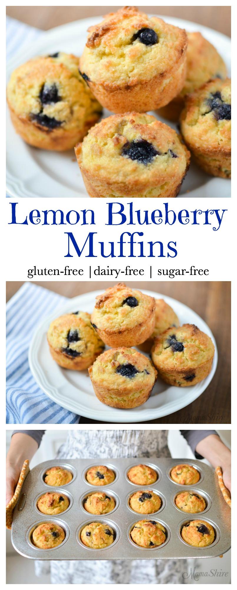 Lemon Blueberry Muffins - Gluten-free, Dairy-free, Sugar-free
