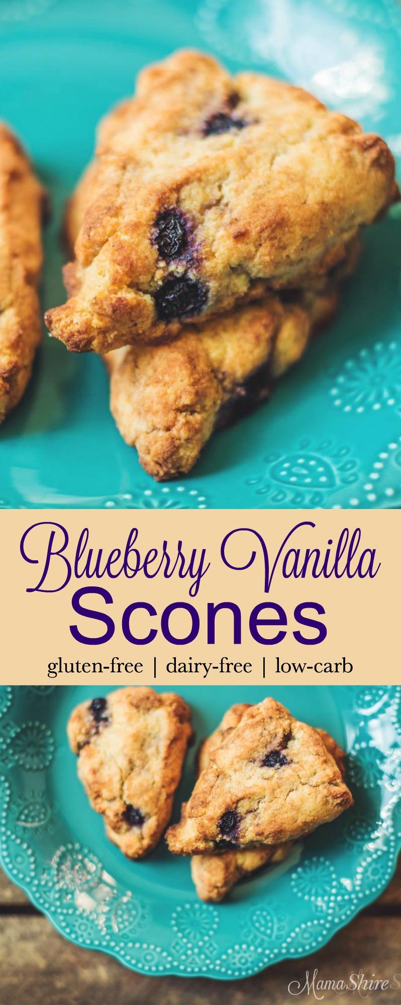 Blueberry Vanilla Scones - Gluten-free, Dairy-free, Sugar-free, Low-Carb, THM-S