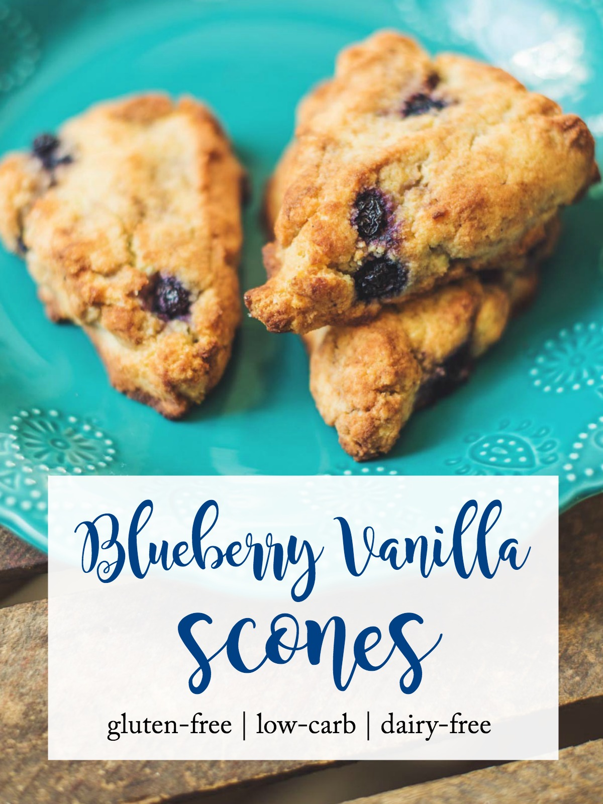 Gluten-free blueberry vanilla scones on plate. Low-carb, Trim Healthy Mama