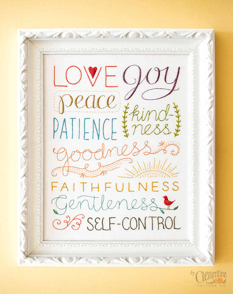 Fruit of the Spirit Embroidery Kit - Clementine Patterns - MamaShire.com