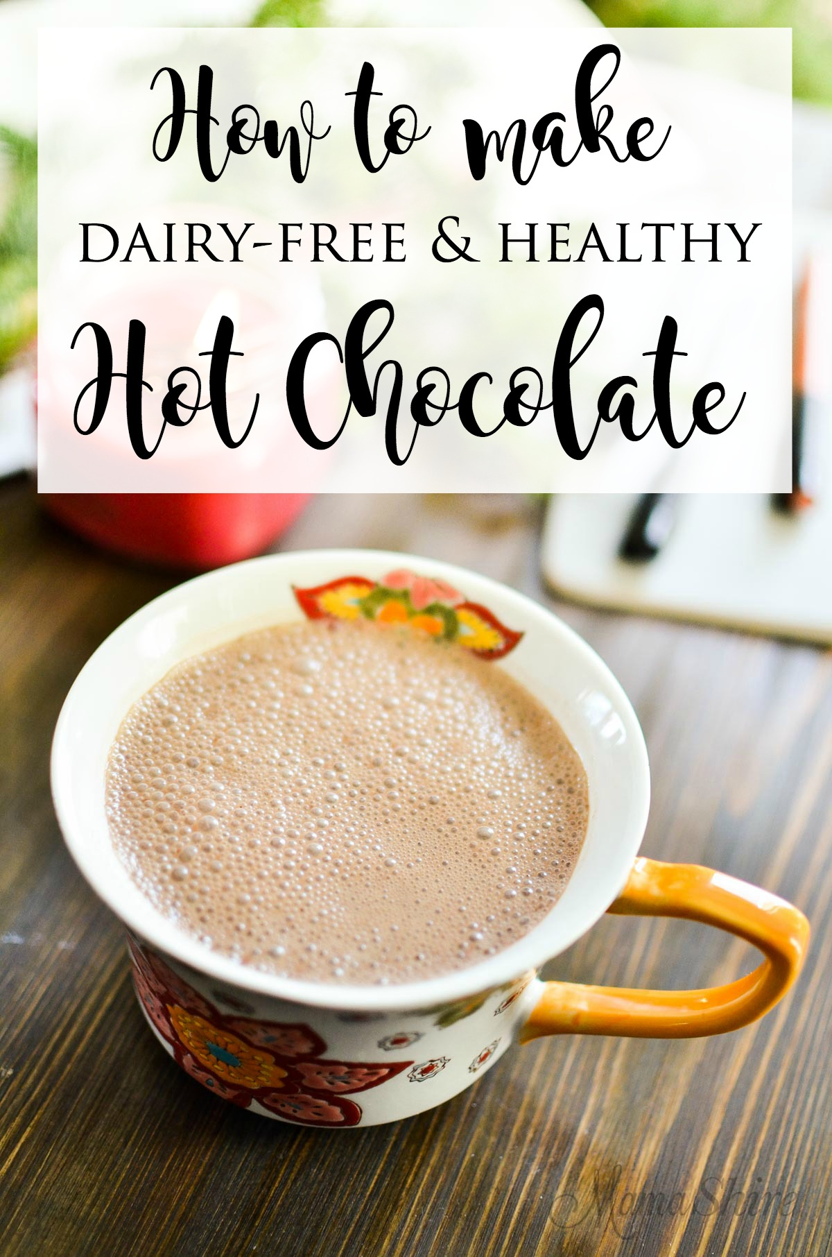 A steamy cup of dairy-free hot chocolate. Made dairy-free and sugar-free