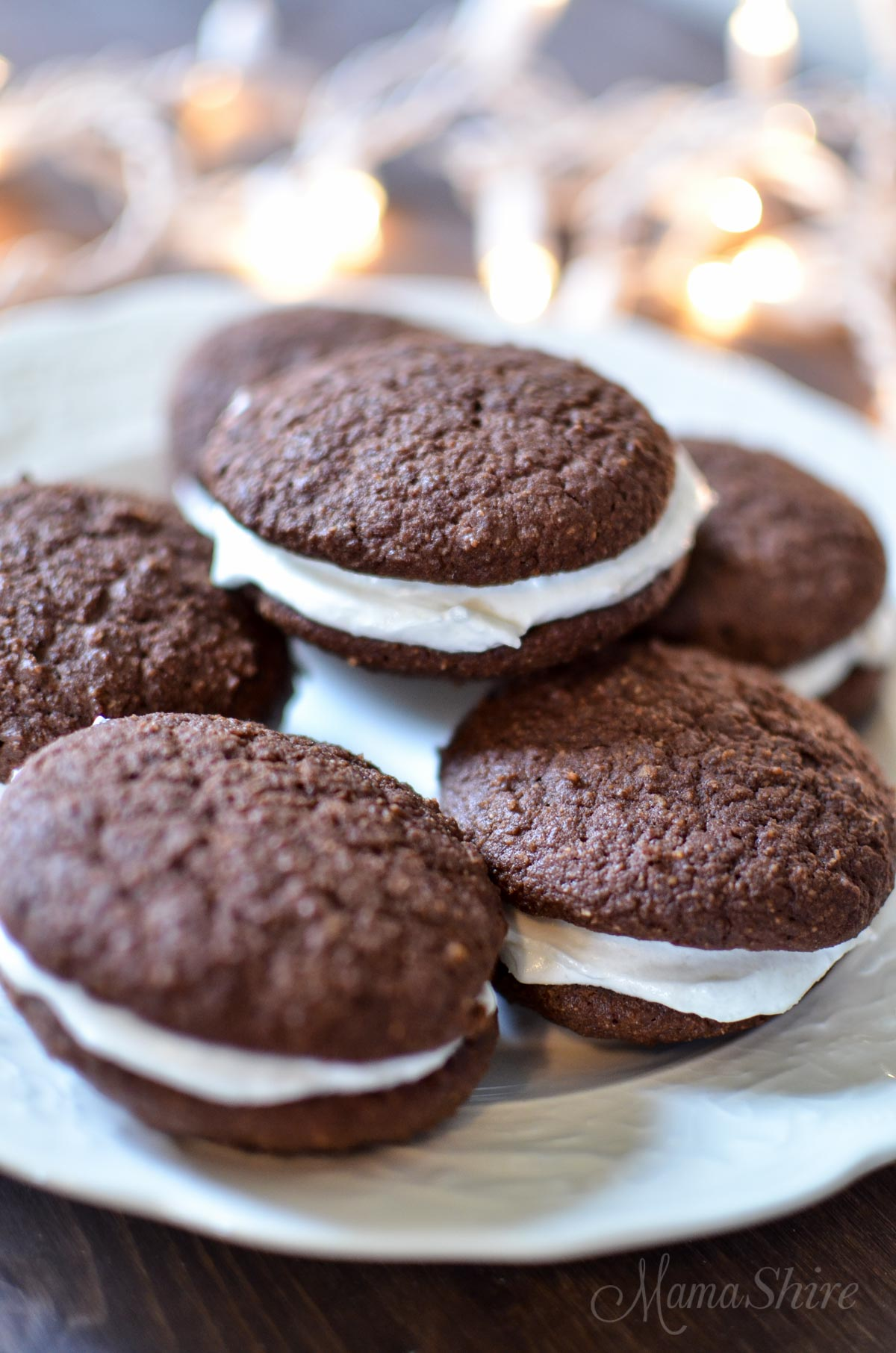 Peppermint Whoopie Pies - Gluten Free, Dairy Free, Sugar Free - MamaShire.com
