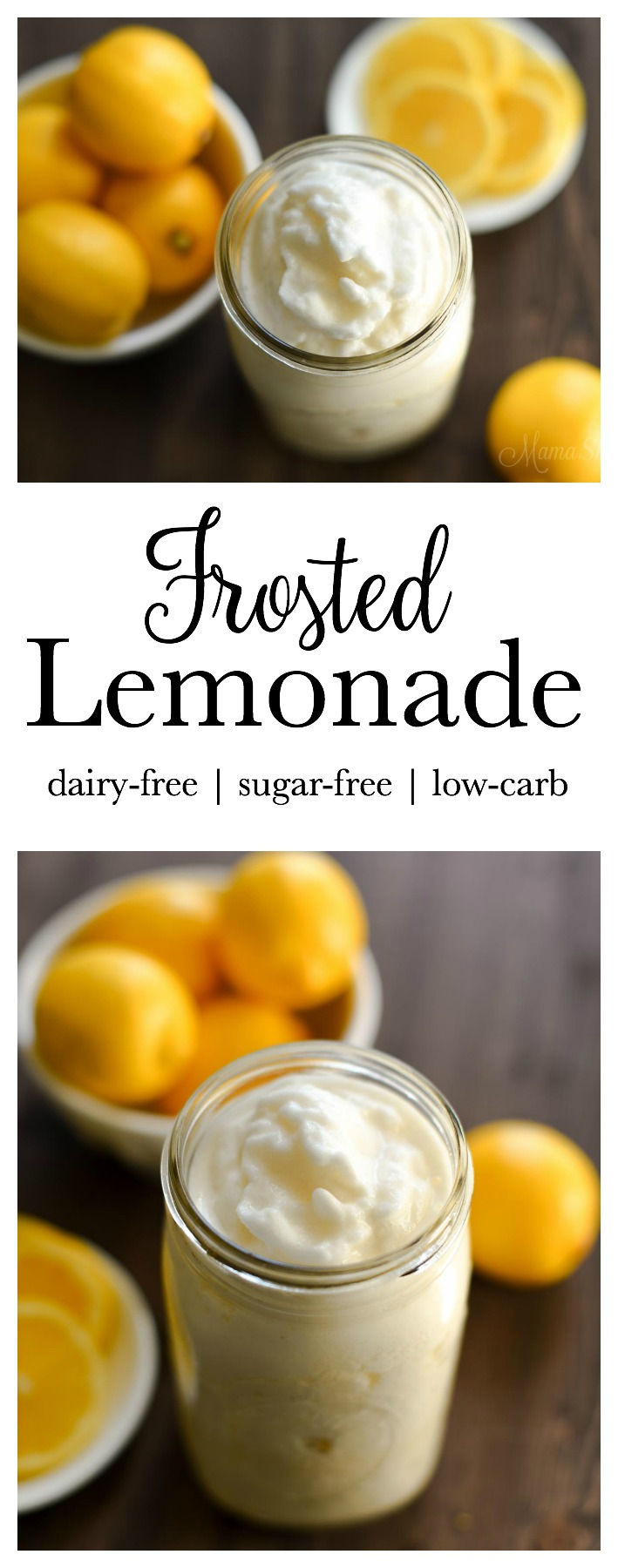 Frosted Lemonade | dairy-free, sugar-free, low-carb. Healthy and delicious mock Chick-fil-a Frosted Lemonade. Trim Healthy Mamas (FP)
