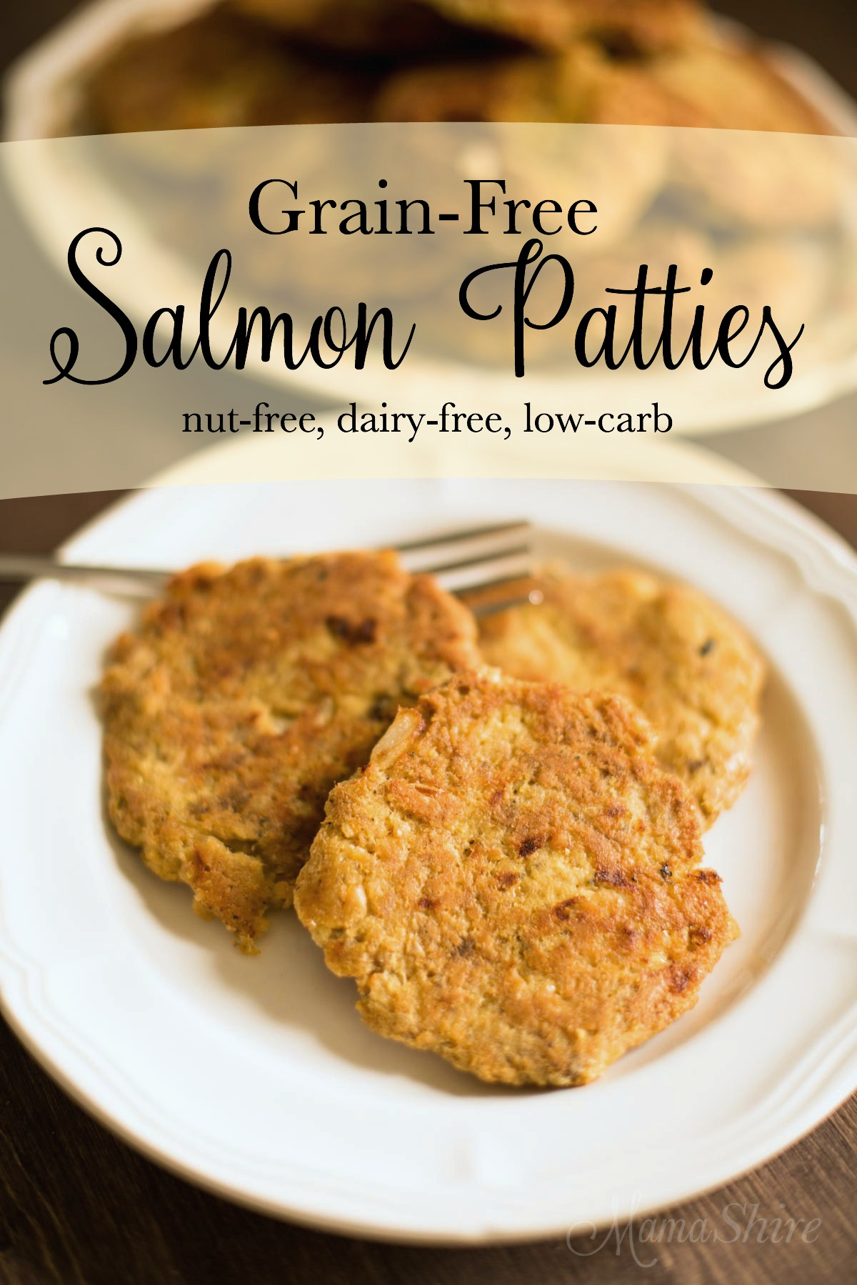 Easy to make grain-free salmon patties. Healthy and tasty! Gluten-free, Dairy-free, Keto, THM-S. #keto #trimhealthymama #grainfree #glutenfree