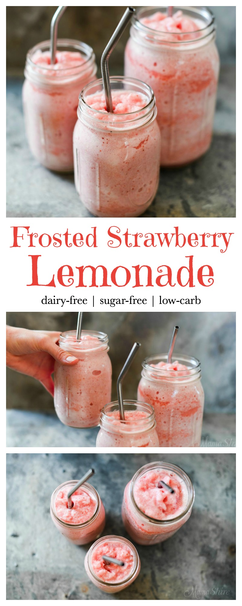 Frosted Strawberry Lemonade - Dairy-free, sugar-free, low-carb