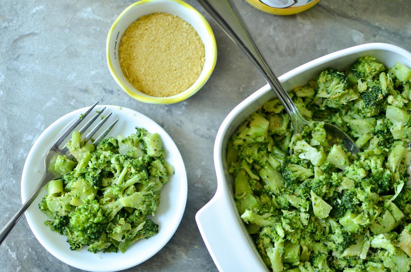 Buttery Lemon Pepper Broccoli - Dairy-Free, Gluten-Free, Nutritional Yeast