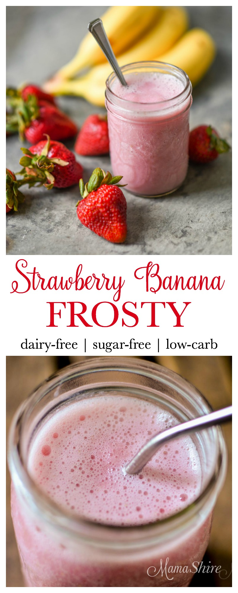 Strawberry Banana Frosty - dairy-free - sugar-free - low-carb