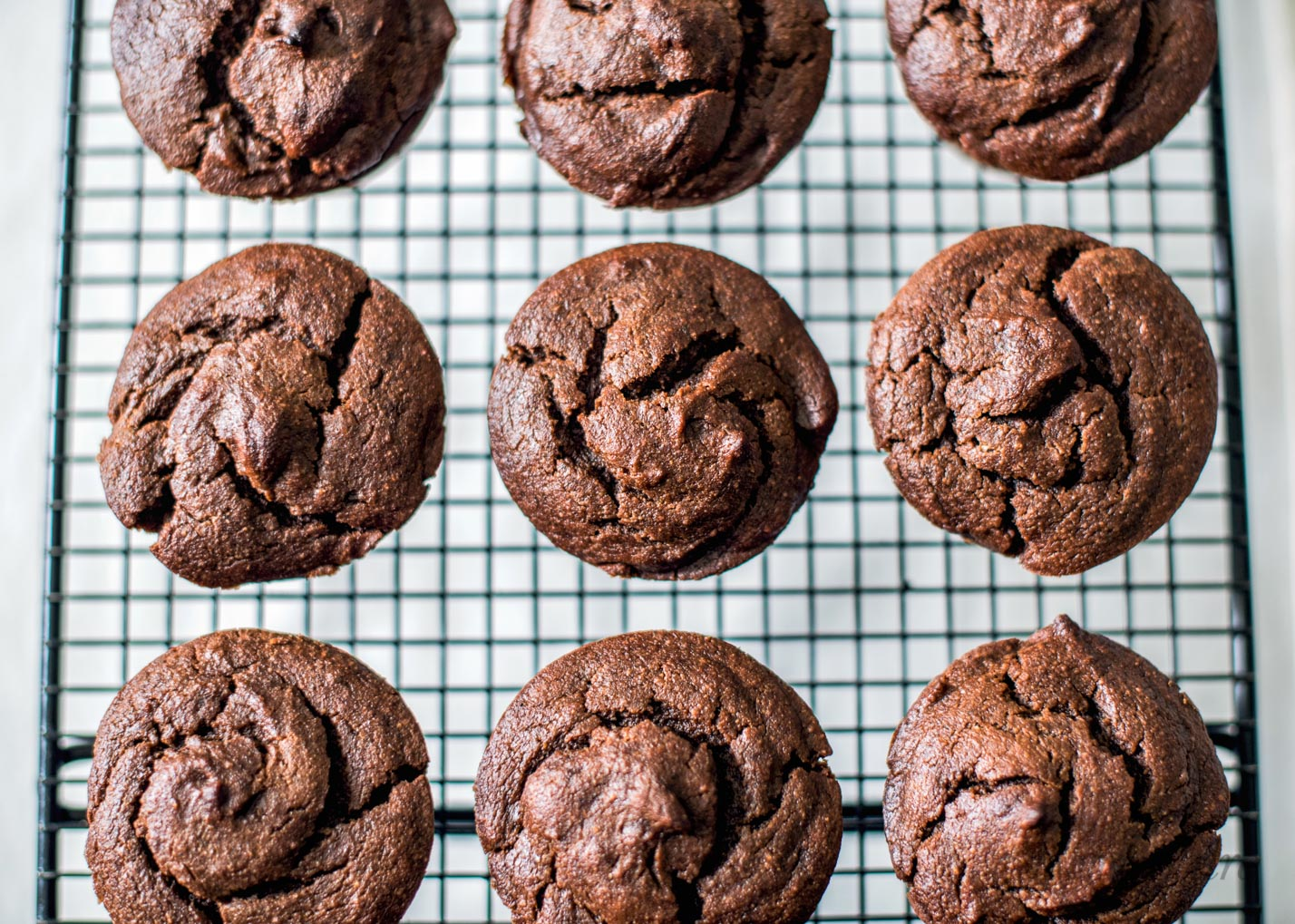 Chocolate Peanut Butter Muffins with summer squash. Gluten-free, dairy-free, sugar-free, low-carb, THM-S.