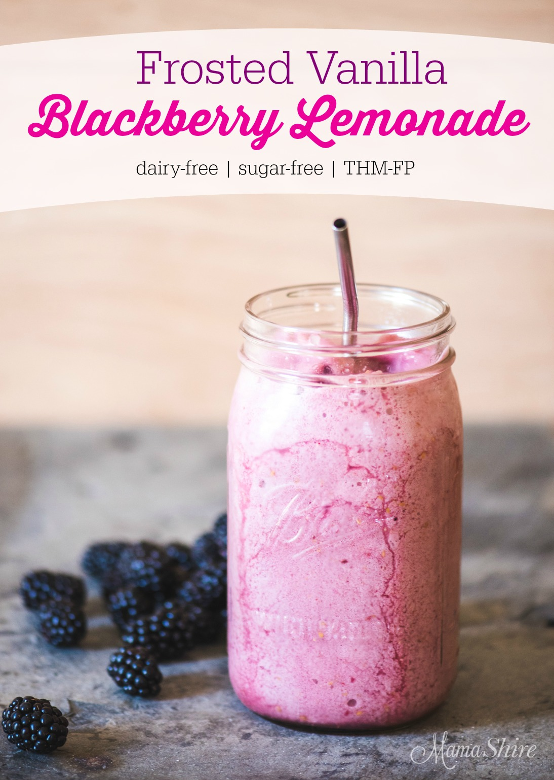 Frosted Vanilla Blackberry Lemonade Dairy-free, Sugar-free, Low-Carb, THM-FP