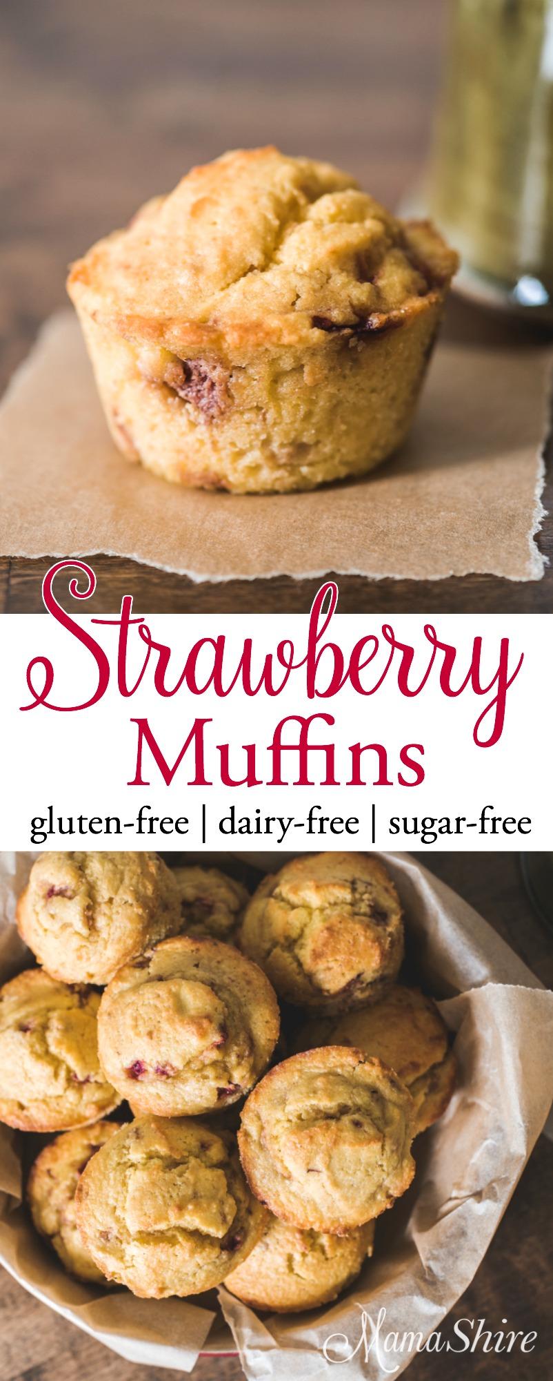 Strawberry Muffins Gluten-free, Dairy-free, Sugar-free, THM-S
