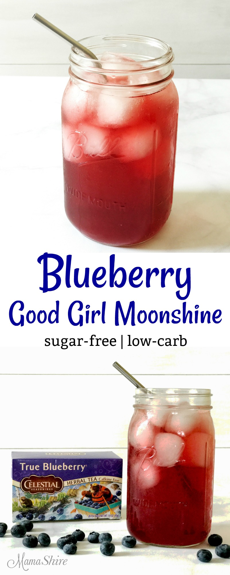 Blueberry Good Girl Moonshine - Sugar-free, Low-carb, All Day THM Sipper