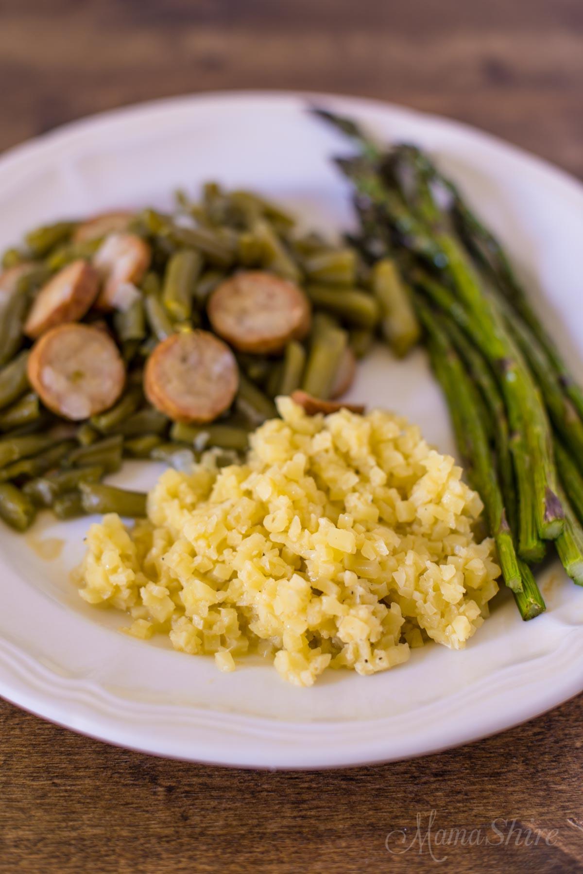 Dairy-free Cheesy Cauliflower Rice - Gluten Free, Dairy-Free, Low-Carb, THM-S