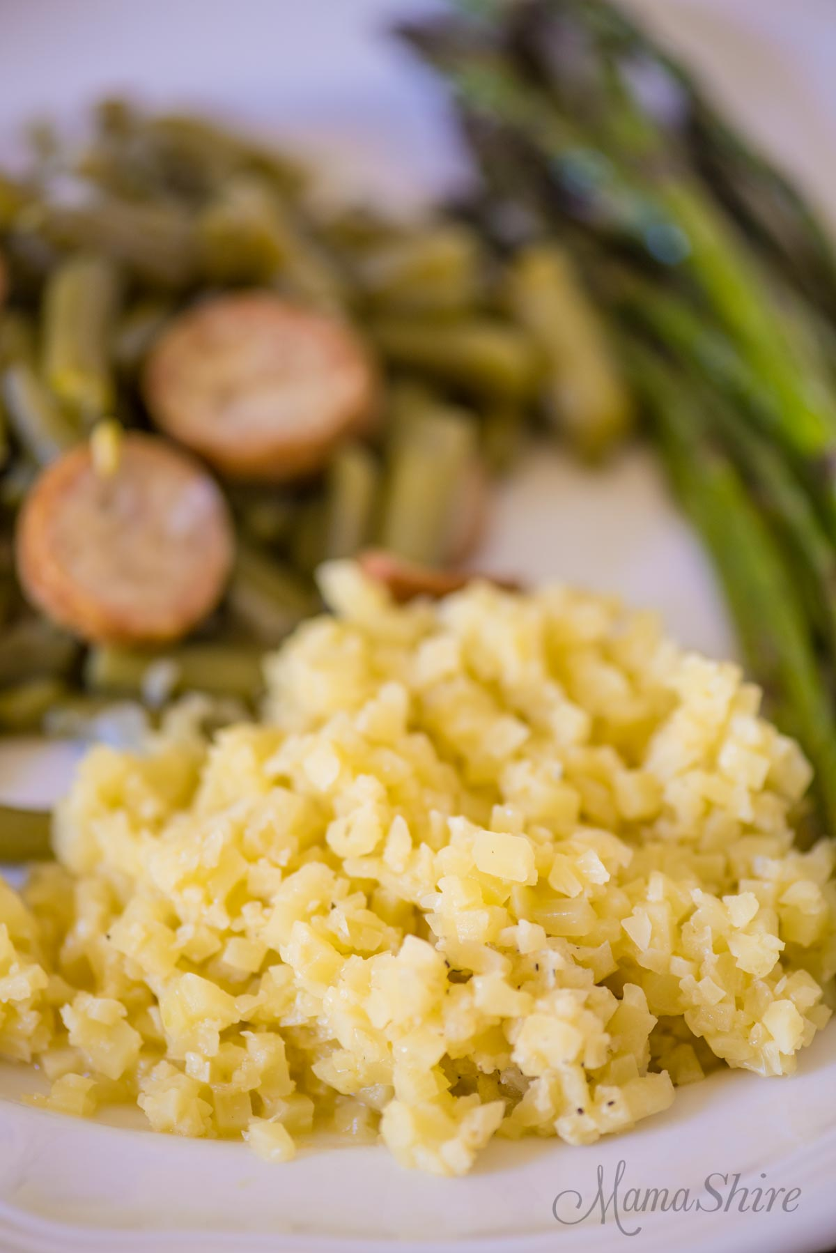 Dairy-free Cheesy Cauliflower Rice - Gluten-free, Low-carb, THM-S
