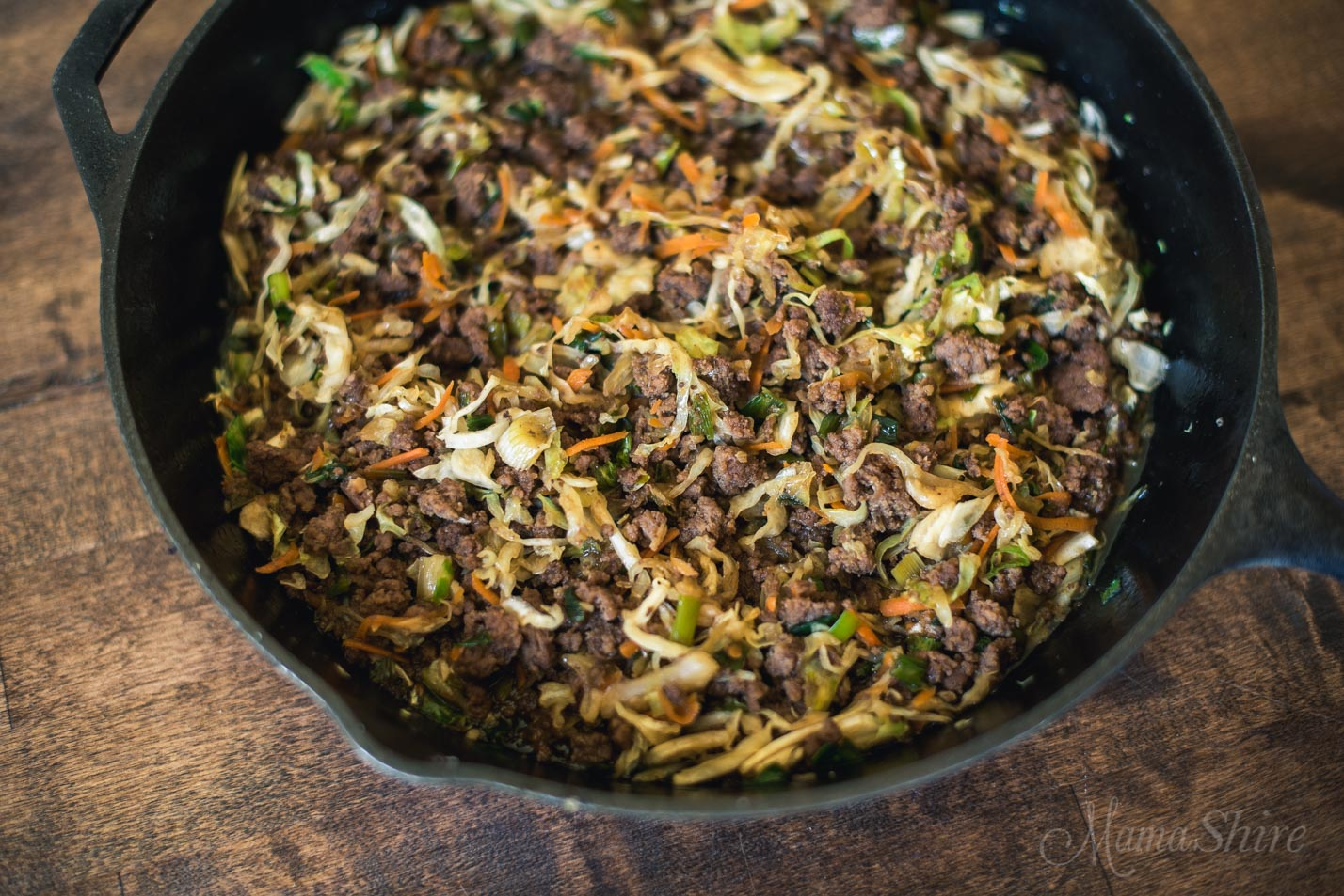 Mongolian Beef Egg Roll in a Bowl - Gluten-free, Low-carb, THM-FP, skillet dinner