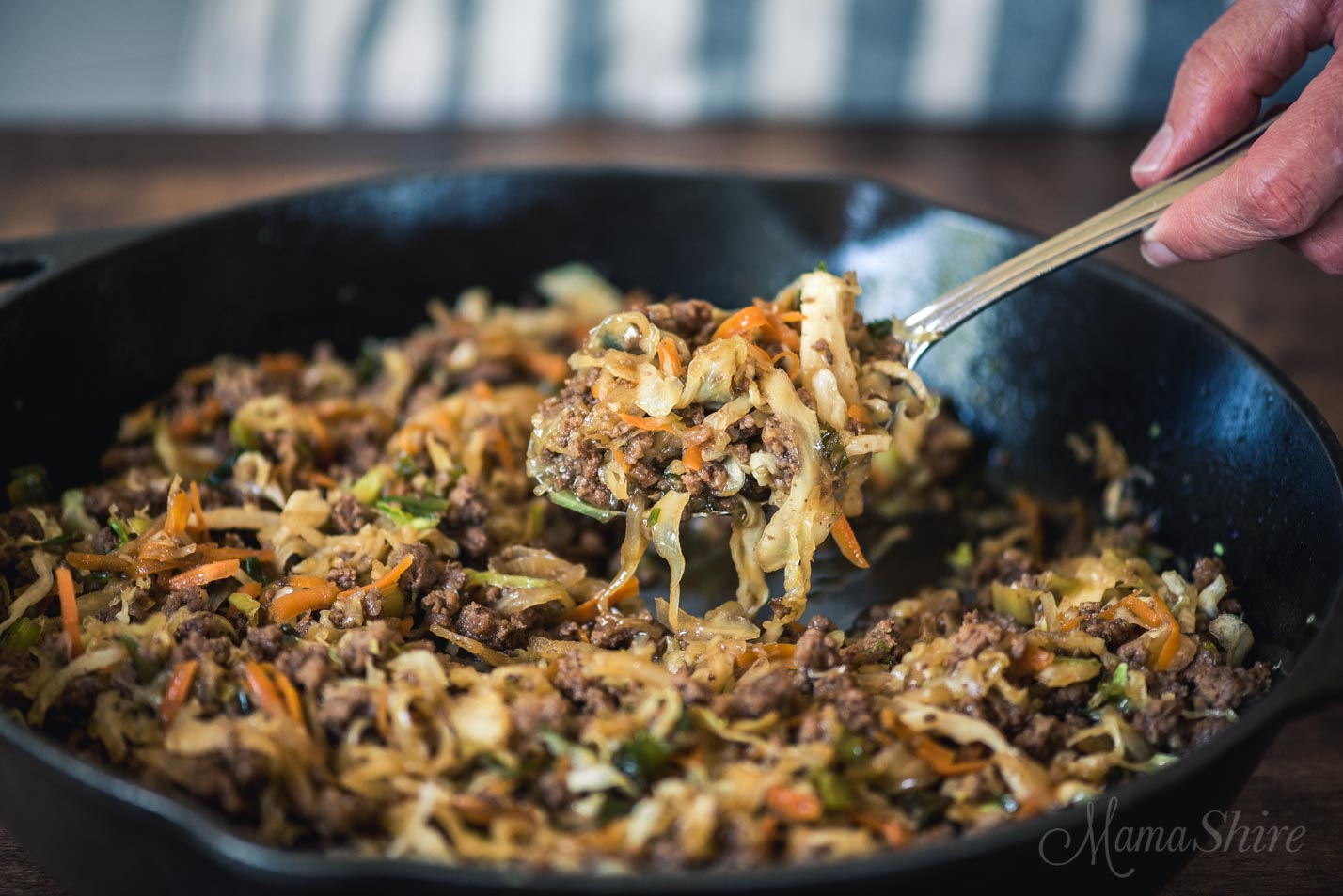 Mongolian Beef Egg Roll in a Bowl - Gluten-free, Low-carb, THM-FP