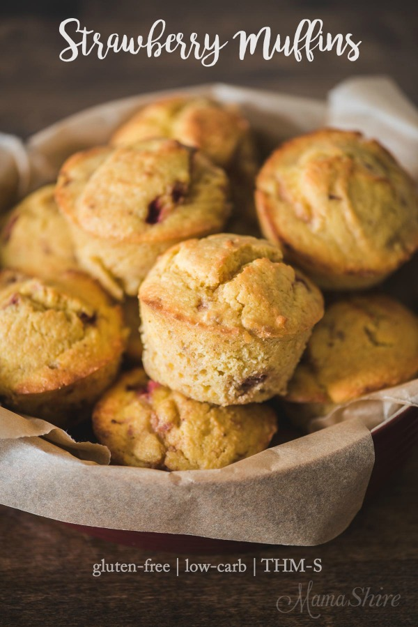Gluten-free strawberry muffins - THM-S, dairy-free, sugar-free, low-carb