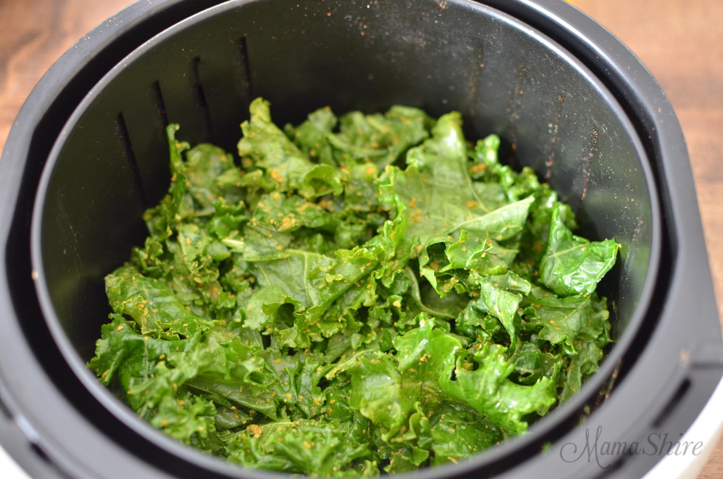 Kale chips in an air-fryer.