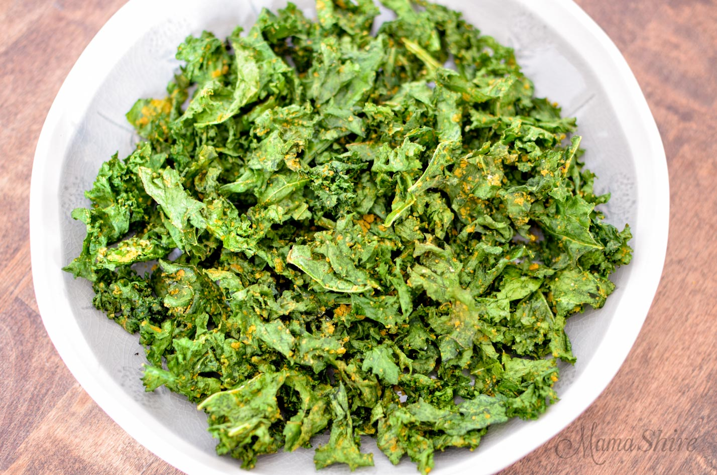 Air-Fried kale chips in a bowl.