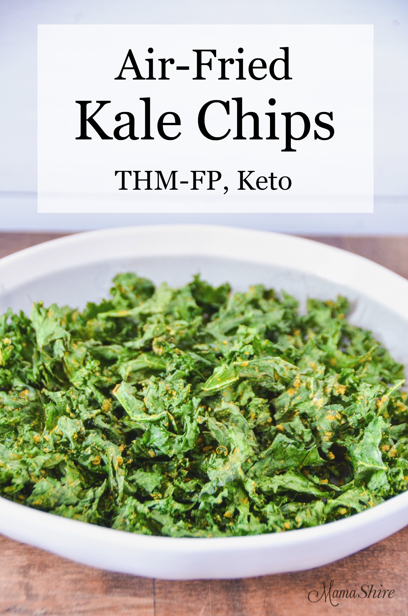 Air-Fried Kale Chips in a serving bowl.