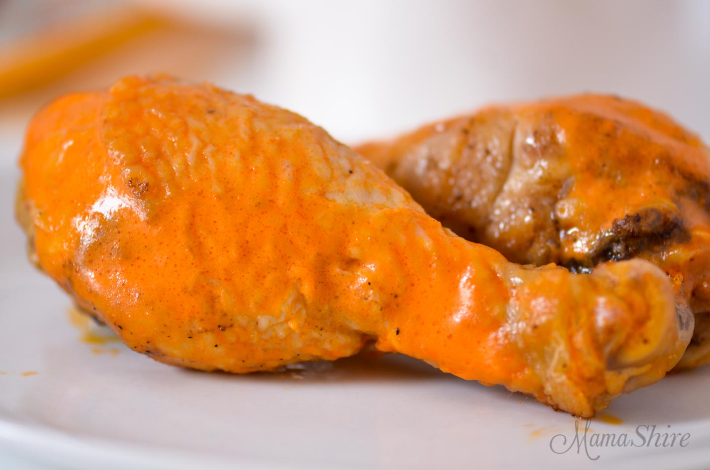 Air-Fried Buffalo Chicken Drumsticks made in an air-fryer. Trim Healthy Mama-S