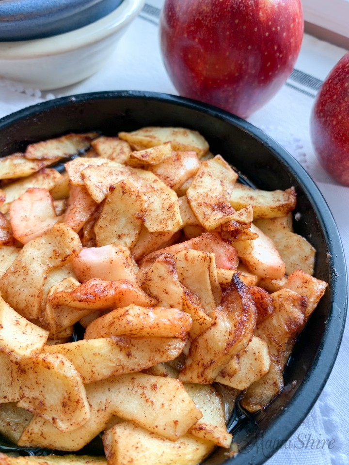 Spiced apples made in the air fryer.
