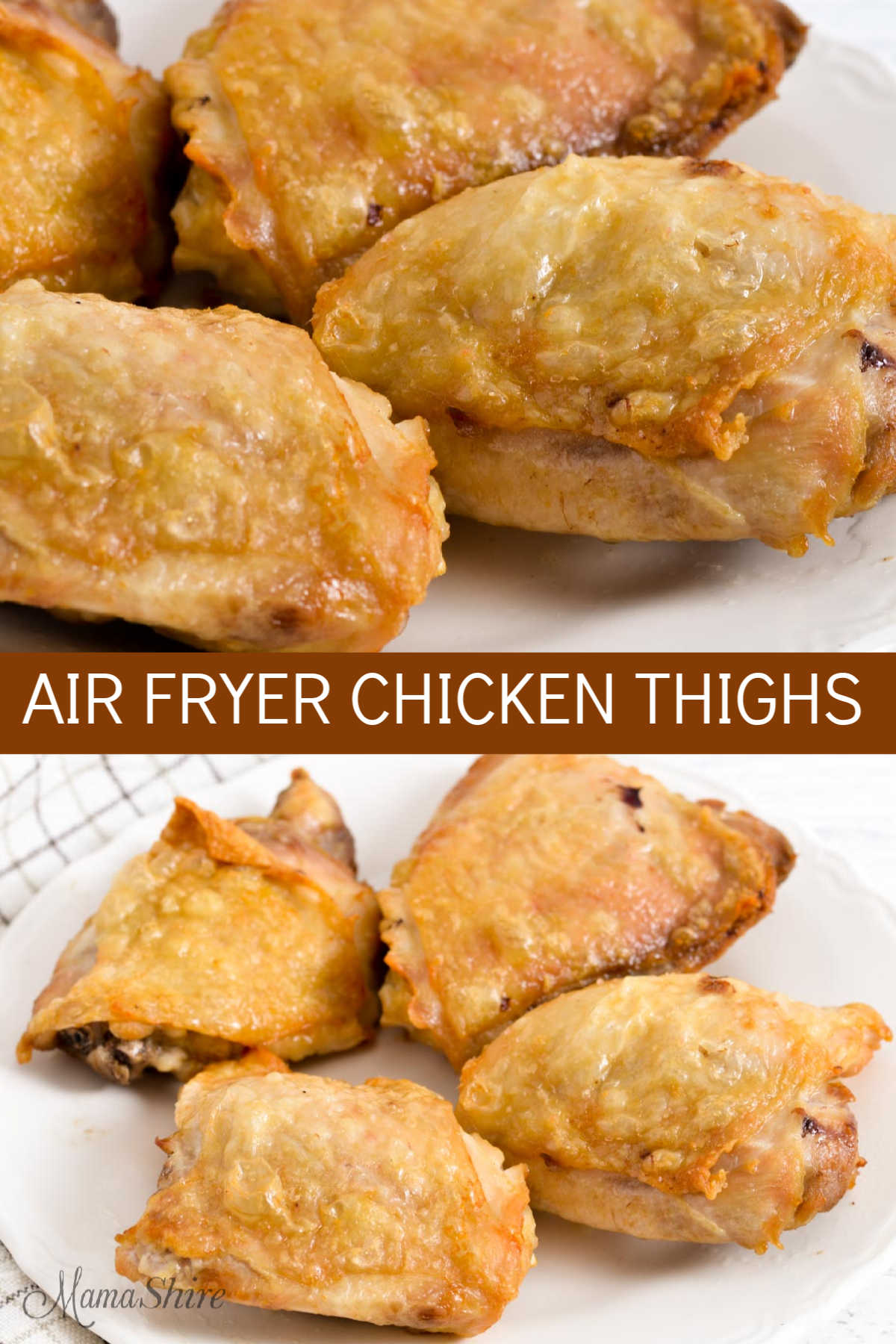 Crispy fried chicken thighs made in an air fryer.