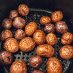 Air-Fried Baby Potatoes in an air fryer.