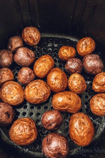 Air-Fried Baby Potatoes in an air fryer.