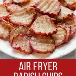 Radish chips made in an air fryer.