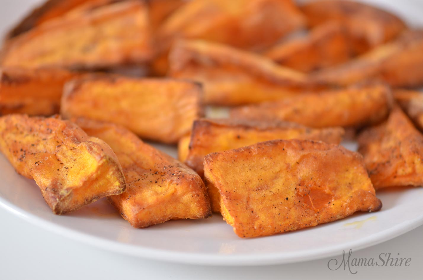 Air-fried Sweet Potato Fries - crispy on the outside, tender on the inside!