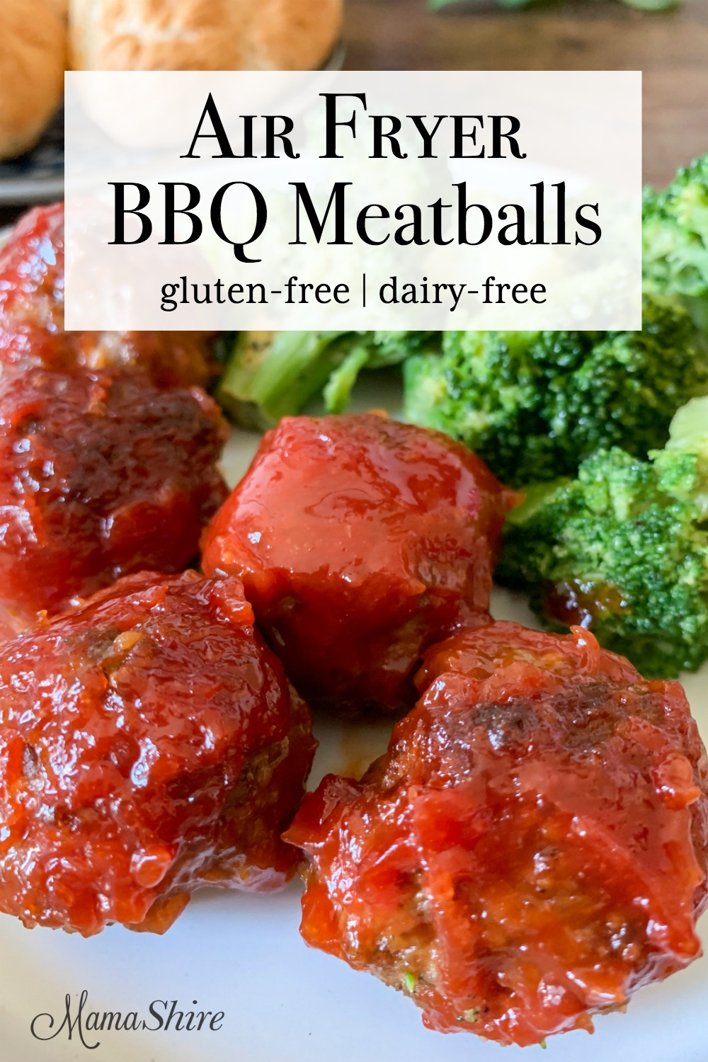 Air Fryer BBQ Meatballs on a plate with broccoli.