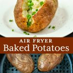 Baking potatoes in an air fryer. Served with buttery spread and chives.