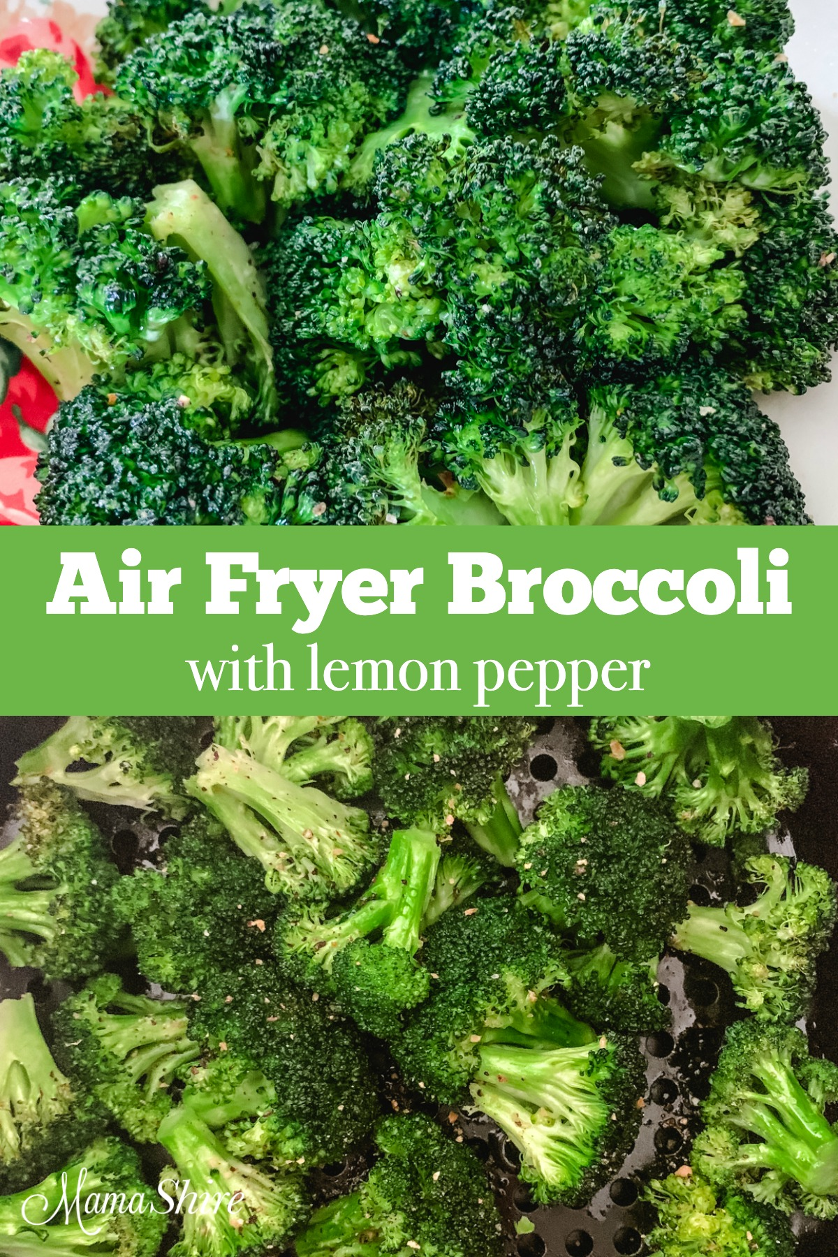 Air fryer broccoli with lemon pepper.