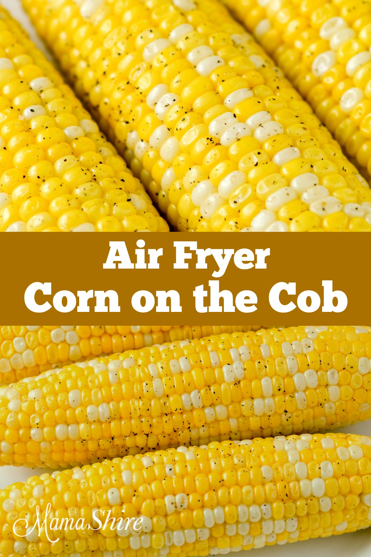 Corn on the cob that has been cooked in an air fryer.