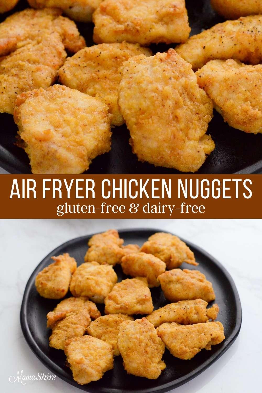 Gluten-free chicken nuggets made in an air fryer.