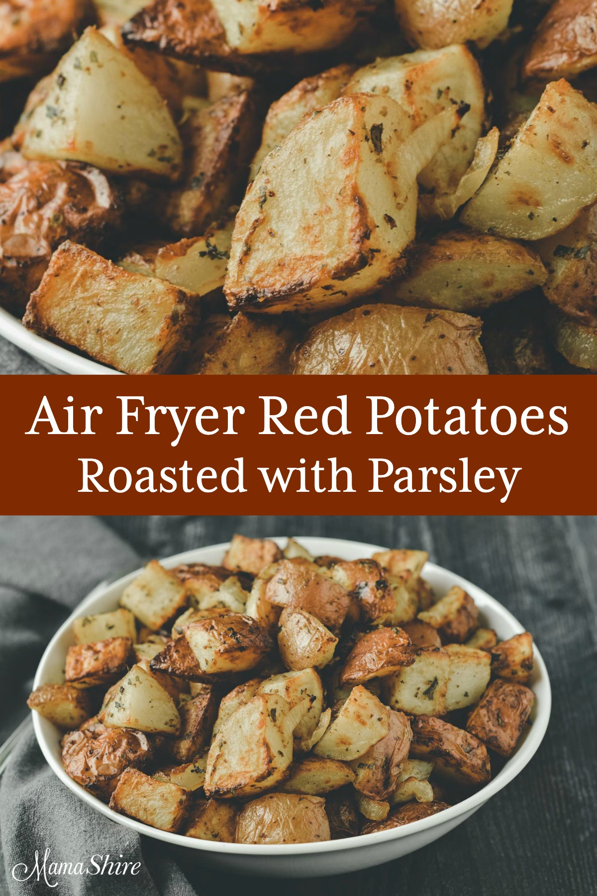 A side dish of air fryer red potatoes. They're roasted with parsley and mustard.