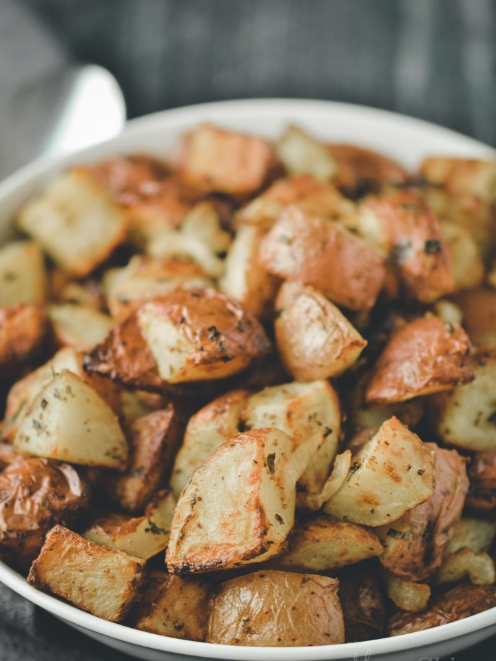 Air fryer red potatoes roasted with parsley.
