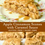 Gluten-free scones with apples, cinnamon, and caramel sauce.