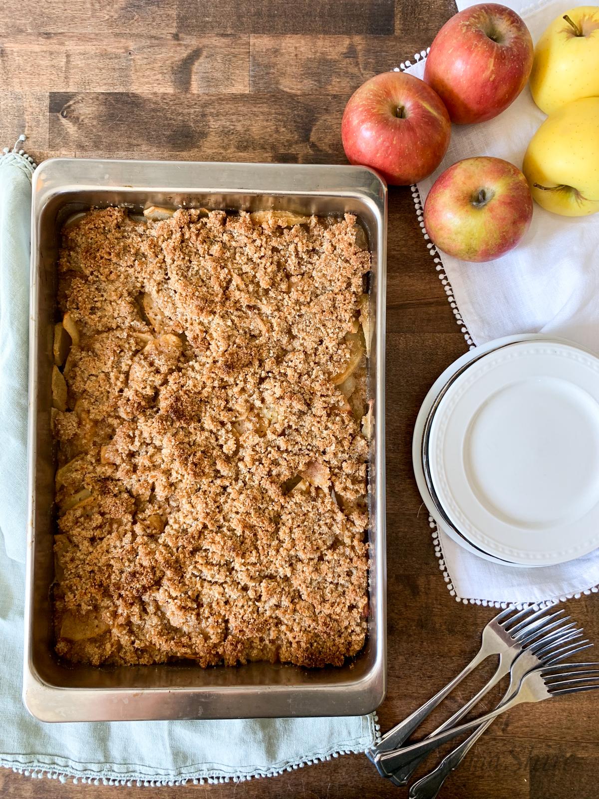 A pan of easy to make grain-free apple crisp