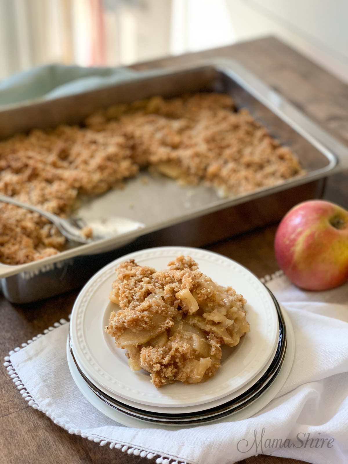 Easy Gluten-free Apple Crisp on a dessert plate.