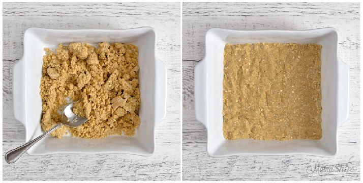 A white baking pan with gluten-free oatmeal bar mix.