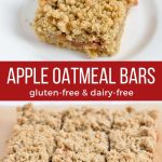 Apple Oatmeal Bars that are made from a gluten-free and dairy-free recipe.