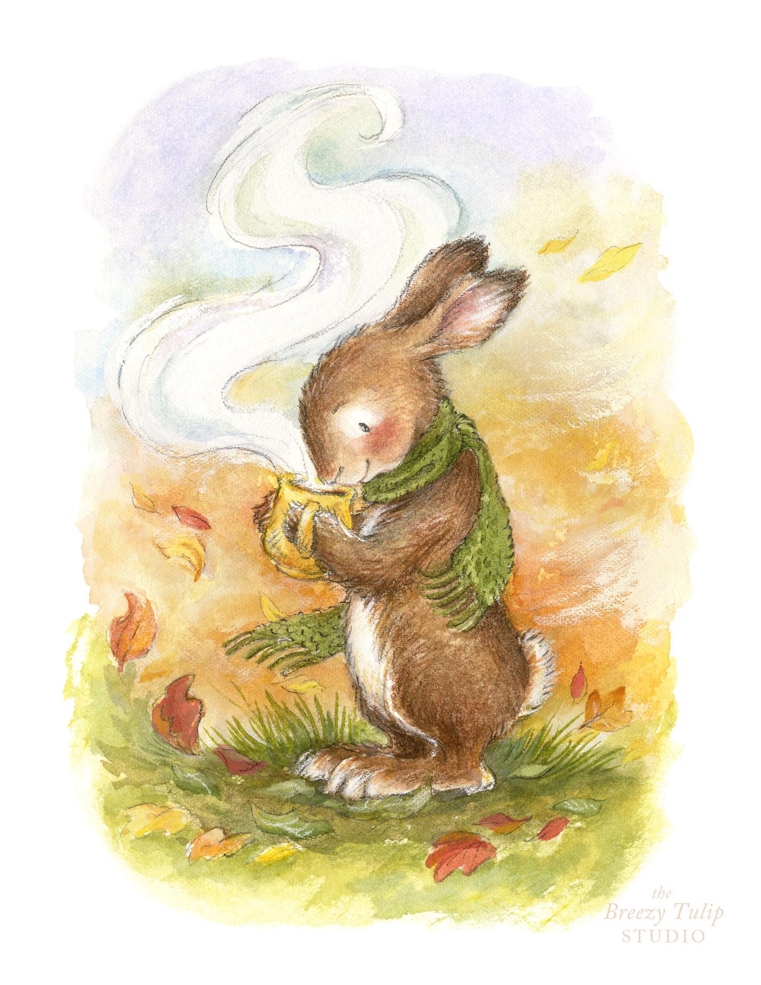 Autumn Bunny Art Print by Breezy Brookshire