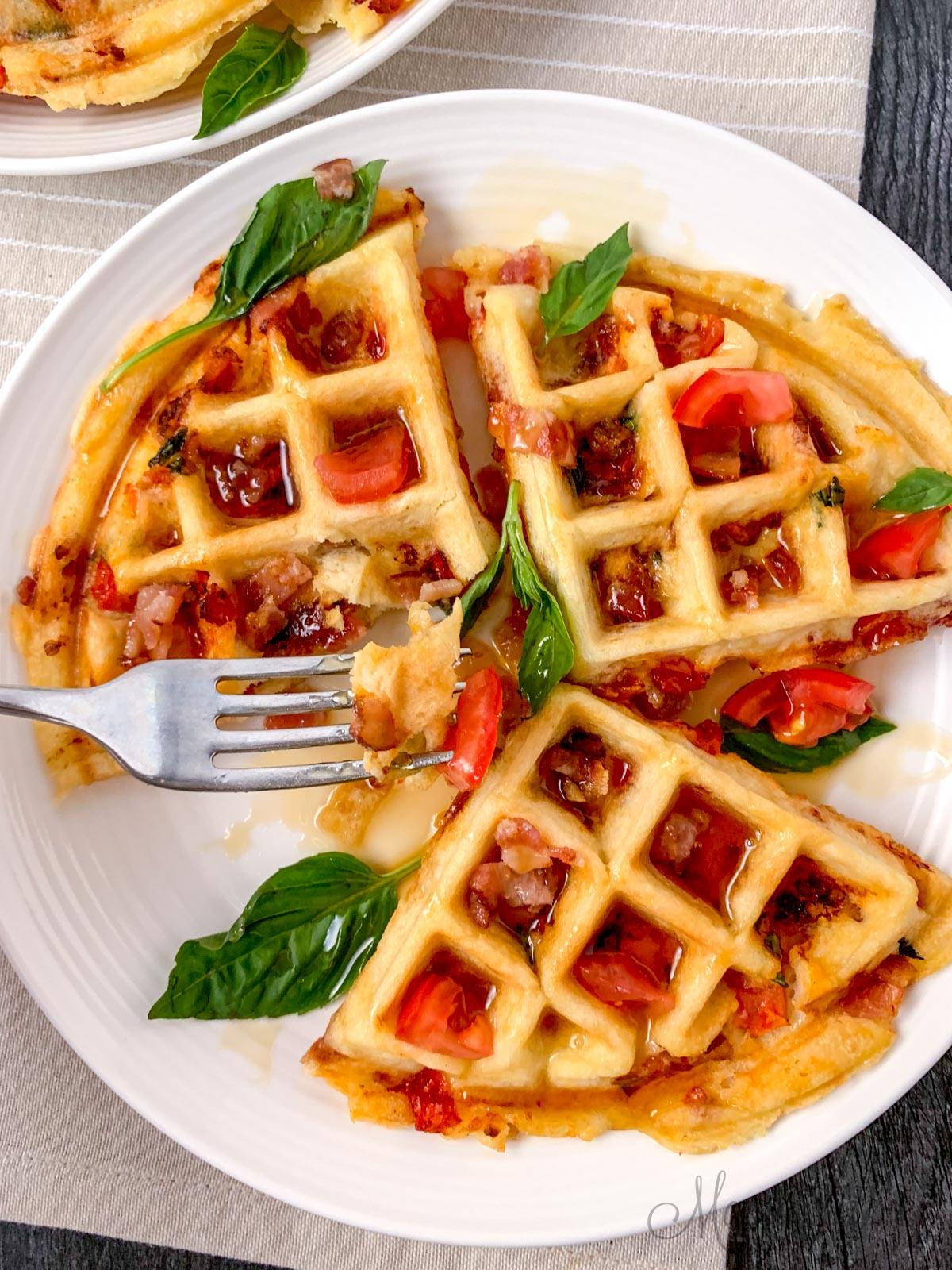 Bacon tomato stuffed waffles.