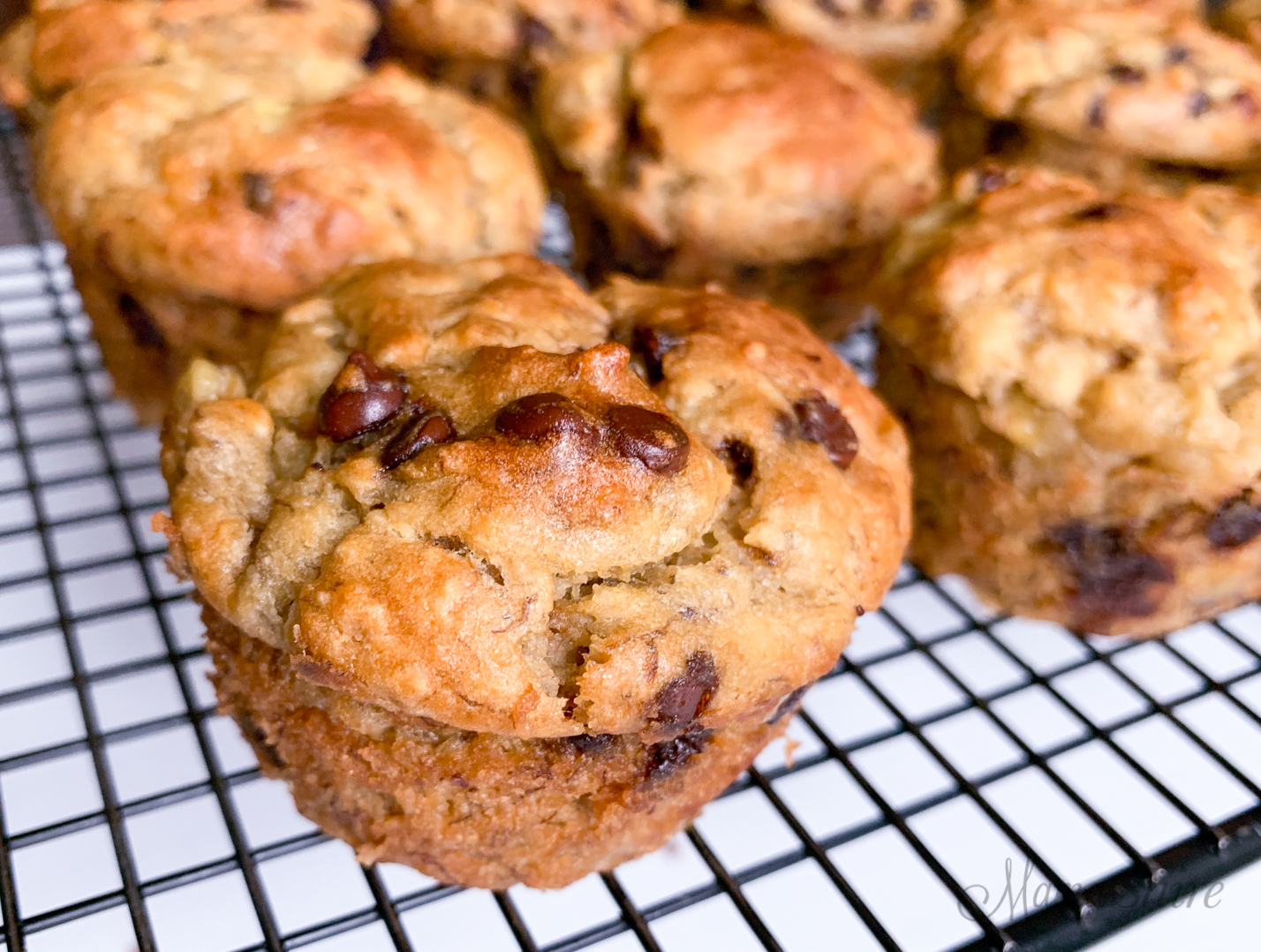 Chocolate chip filled banana muffins - gluten-free and dairy-free.