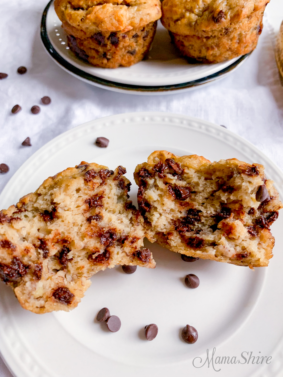 Delicious and moist gluten-free dairy-free banana chocolate chip muffins.