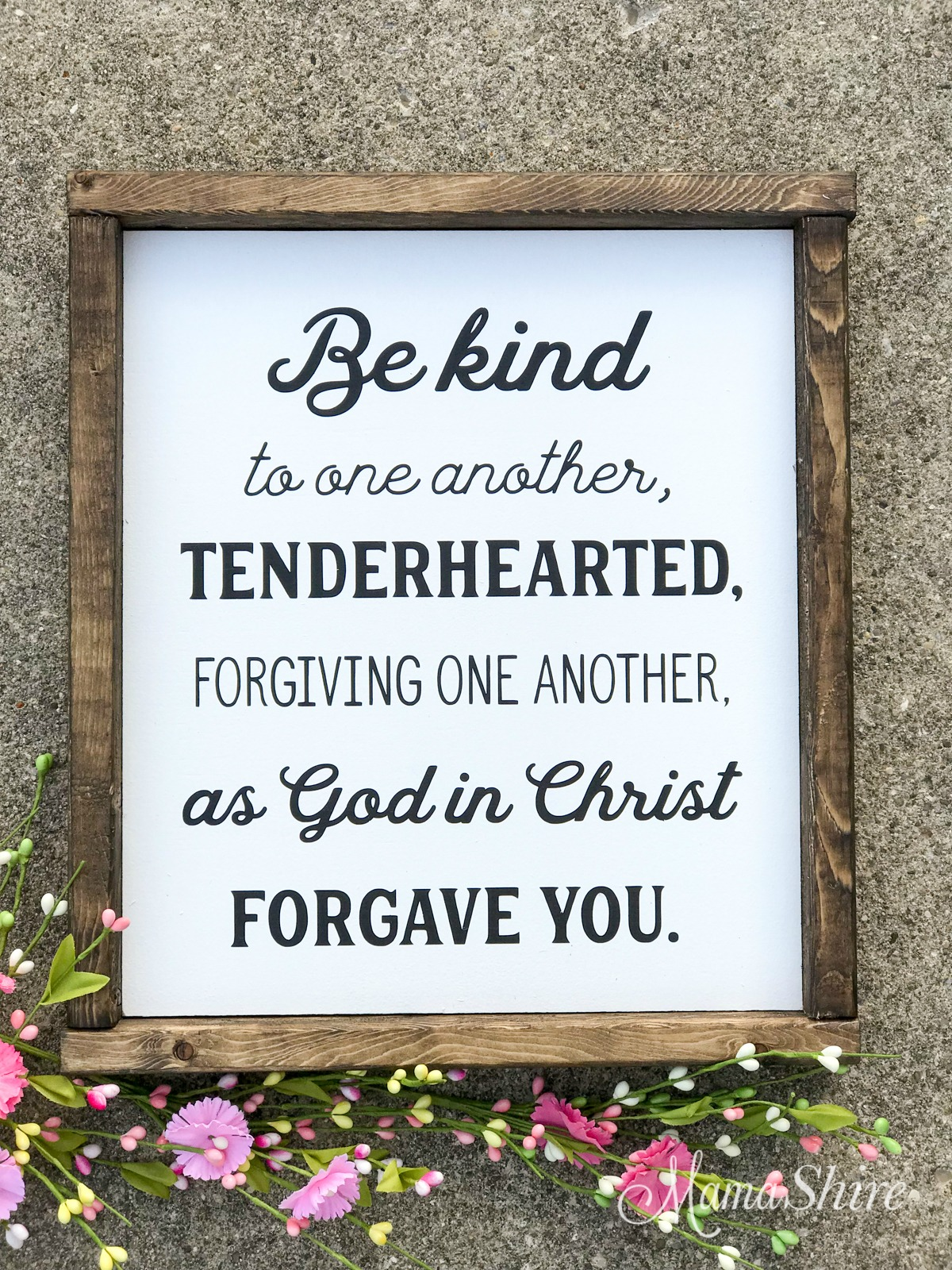 Wood Sign of Be kind to one another made with a free SVG file..