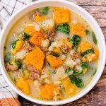 Sweet potato and beef soup.